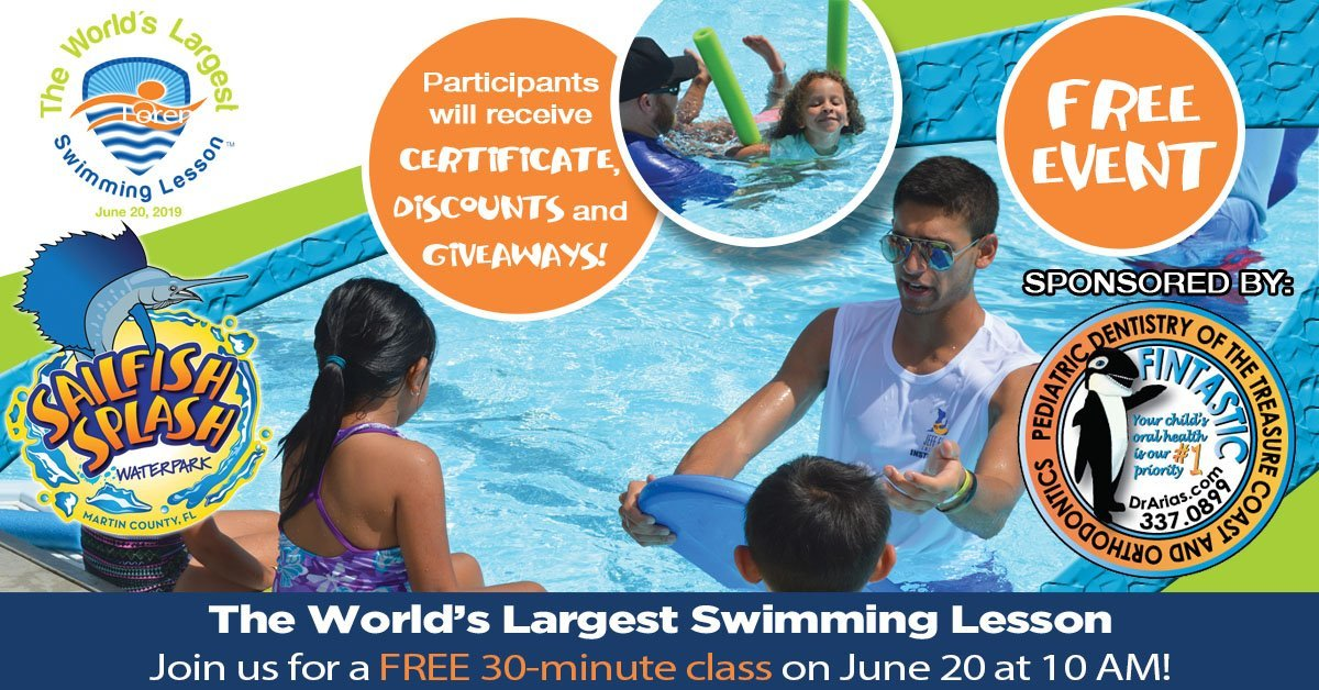 World's Largest Swimming Lesson at Sailfish Splash Waterpark