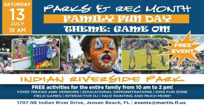 Parks & Recreation Month Family Fun Day at Indian RiverSide Park