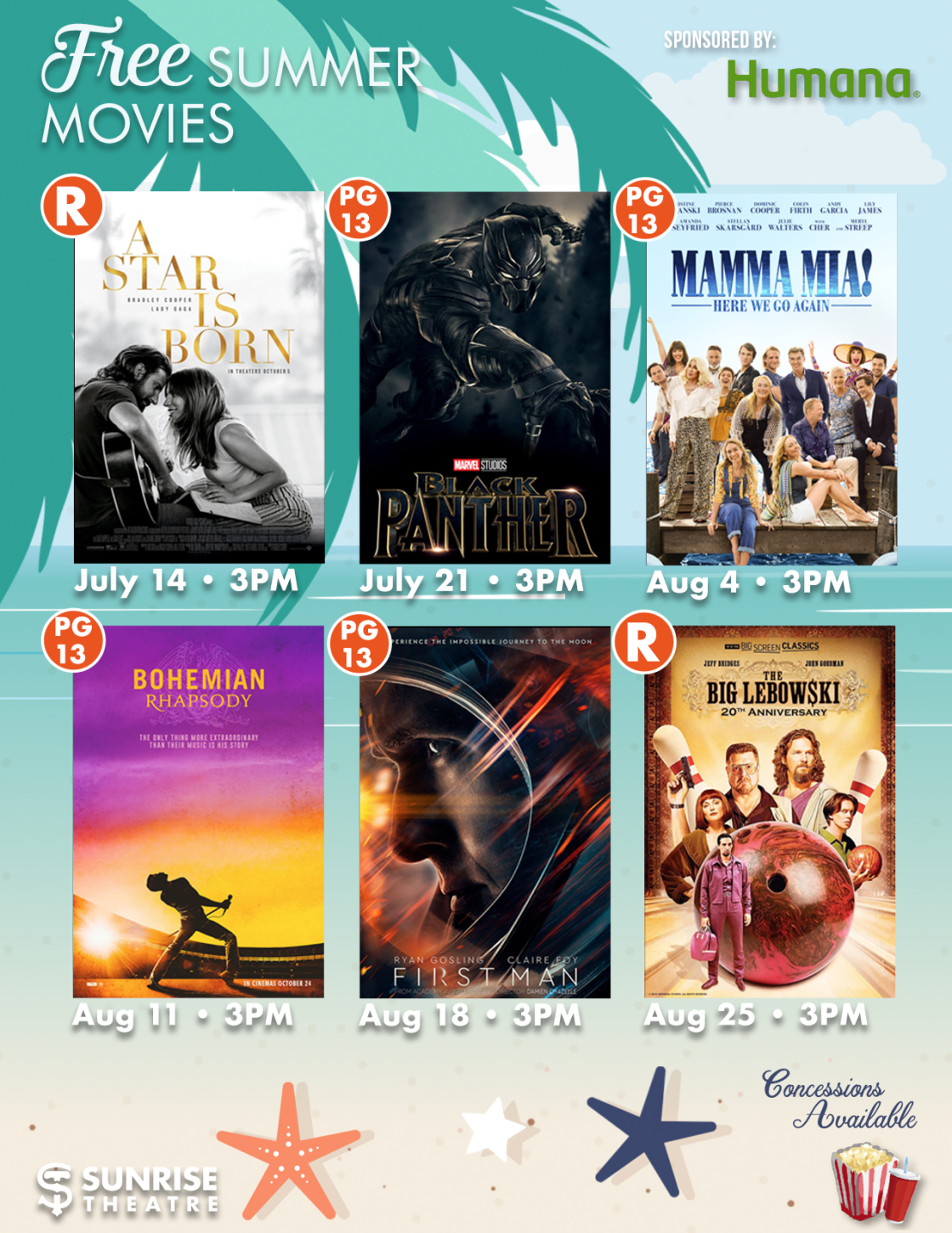 Free Summer Movies For Adults at the Sunrise Theatre