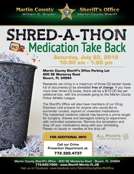 FREE Shred-a-Thon and Medication Take Back at the Martin County