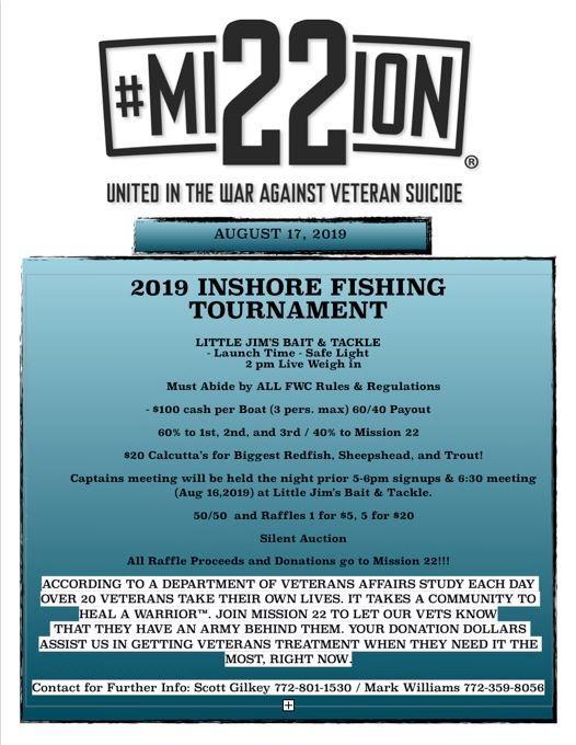 Mission 22 Inshore Fishing Tournament at Little Jim Bait & Tackle