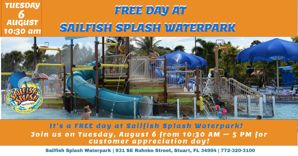 Free Day For All at Sailfish Splash Waterpark