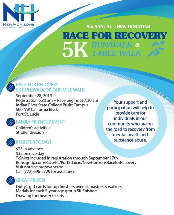 9th Annual New Horizons Race for Recovery 5K Run/Walk and 1 Mile Walk at Indian River State College