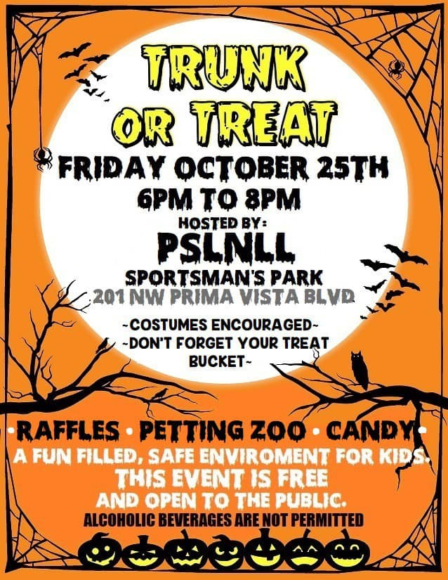 Trunk or Treat at Sportsman Park - Port Saint Lucie National Little League