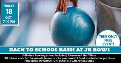 Back to School Bash for Martin County TEENS at Jensen Beach Bowl