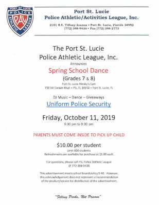 Port St Lucie Police Athletic League Middle School Dance at the Minsky Gym