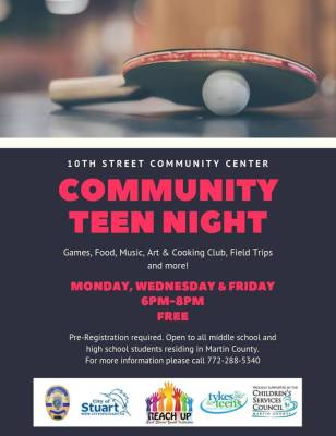Teen Night at 10th Street Community Center at Guy Davis Sports Complex