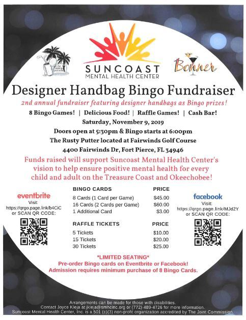 Suncoast Mental Health Center's Designer Handbag BINGO Fundraiser at The Rusty Putter