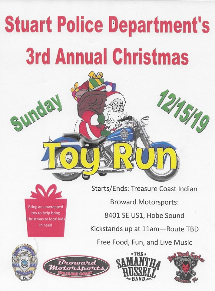 Stuart Police Department 3rd Annual Christmas Toy Run at Indian Motorcycle Treasure Coast