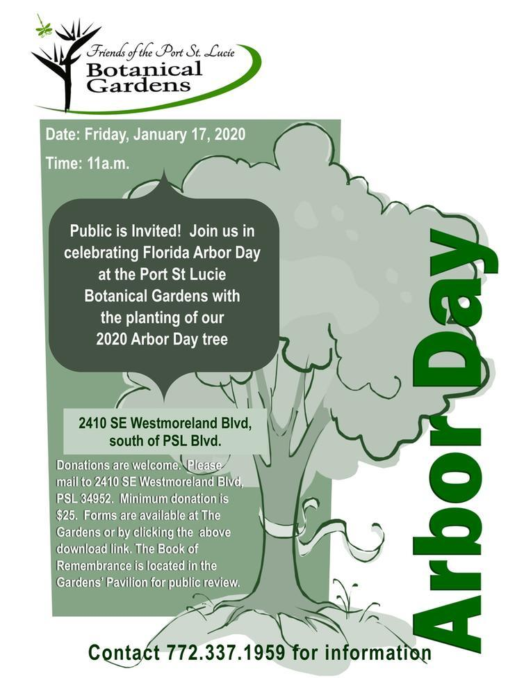 Florida Arbor Day Celebration at the Port St Lucie Botanical Gardens