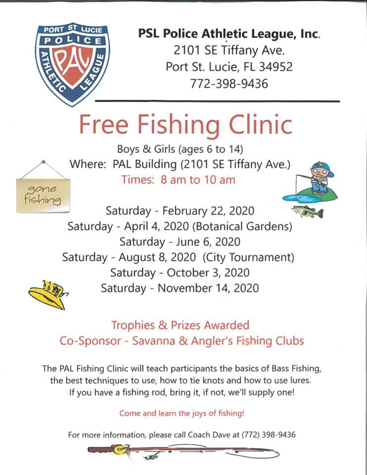 PAL Free Fishing Clinic at the Port St Lucie Police Athletic League Gym