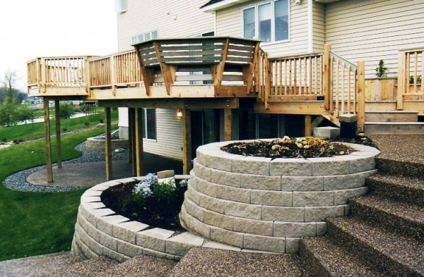 Block Retaining Wall, Deck and Complete Landscape