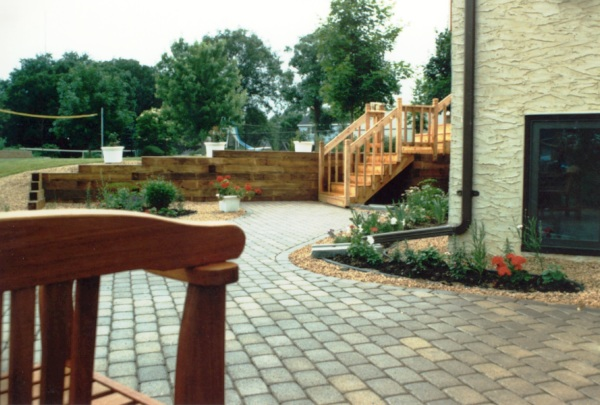 Timber Retaining Wall, Deck and Paver Patio