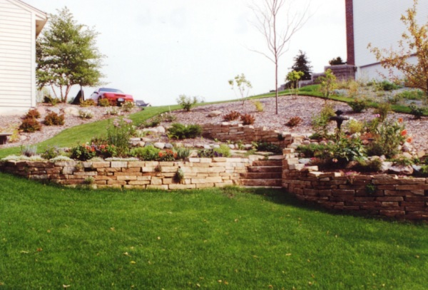 Natural Stone Retaining Wall and Complete Landscape