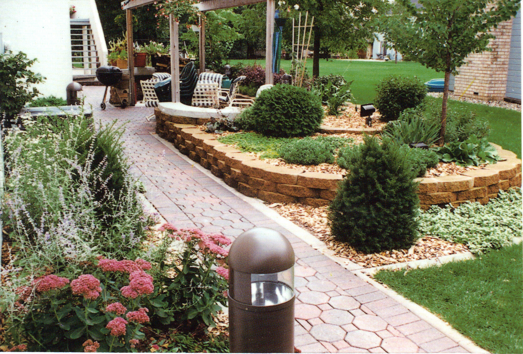 Paver Walkway, Block Planter and Complete Landscape