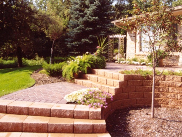 Block Staircase, Block Retaining Wall and Paver Walkway
