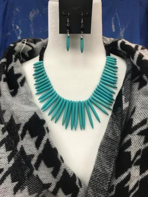 Teal and Black Necklace