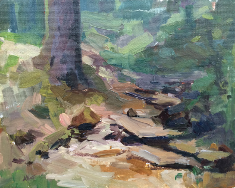 CREEK WALK     8x10    Oil