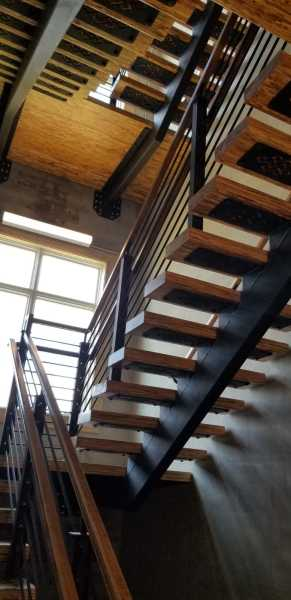 Boards & Beams Iron Metal Stairs Wood Treads