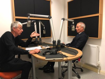 Paul Gosling interviewing David Liddington MP during a visit to Holywell Trust