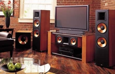 home theater speakers in room