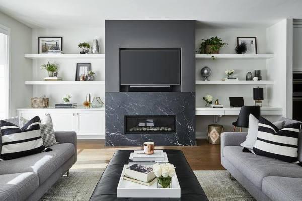 tv mount and soundbar installed over fireplace