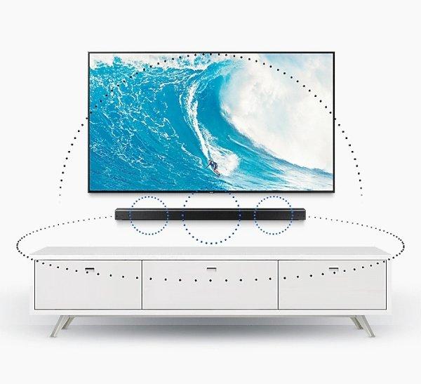 tv and soundbar mounted on wall