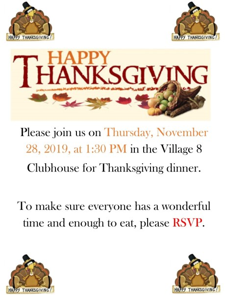 Thanksgiving Dinner at the Clubhouse - 11-28-19