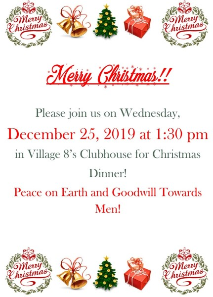 Christmas Dinner in the Clubhouse - 12-25-19