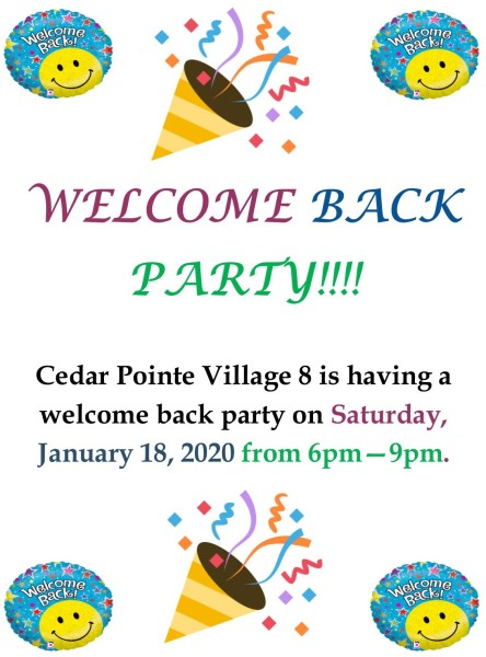 Welcome Back Party - 1-18-20
