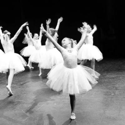 children dance ballet on stage.