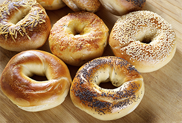 Fresh bread, bagels and buns