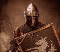 Roman soldier with armour and shield the demon fighter