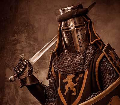 Mid-evil warrior with sword brave enough to destroy demons