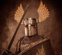 Winged Roman soldier with spear the Priest