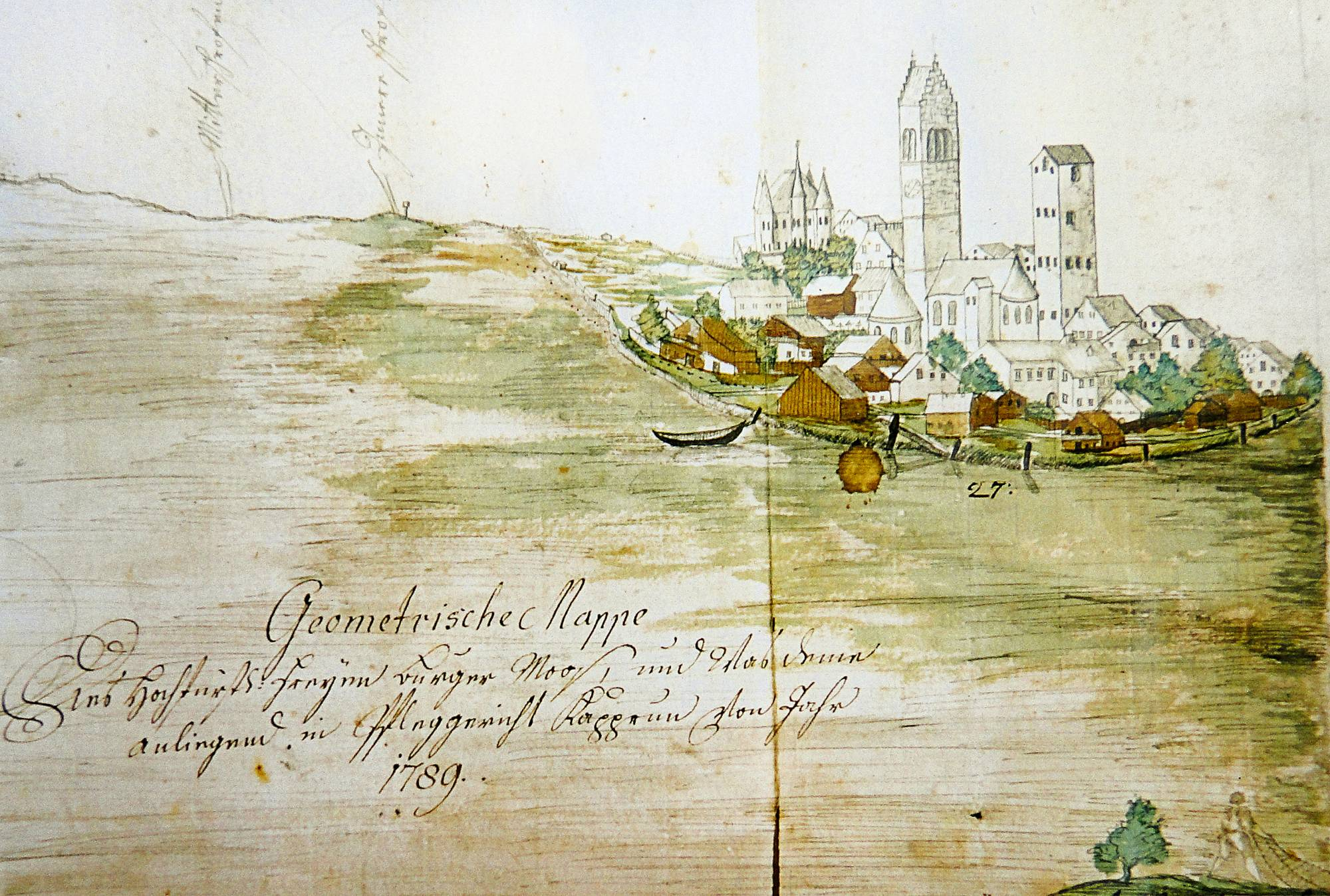 1789: Ensemble Rosenberg Castle, parish church and Vogtturm