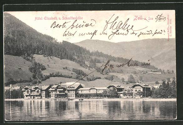 Zell am See  view to Hotel Elisabeth and the Schmittenhöhe