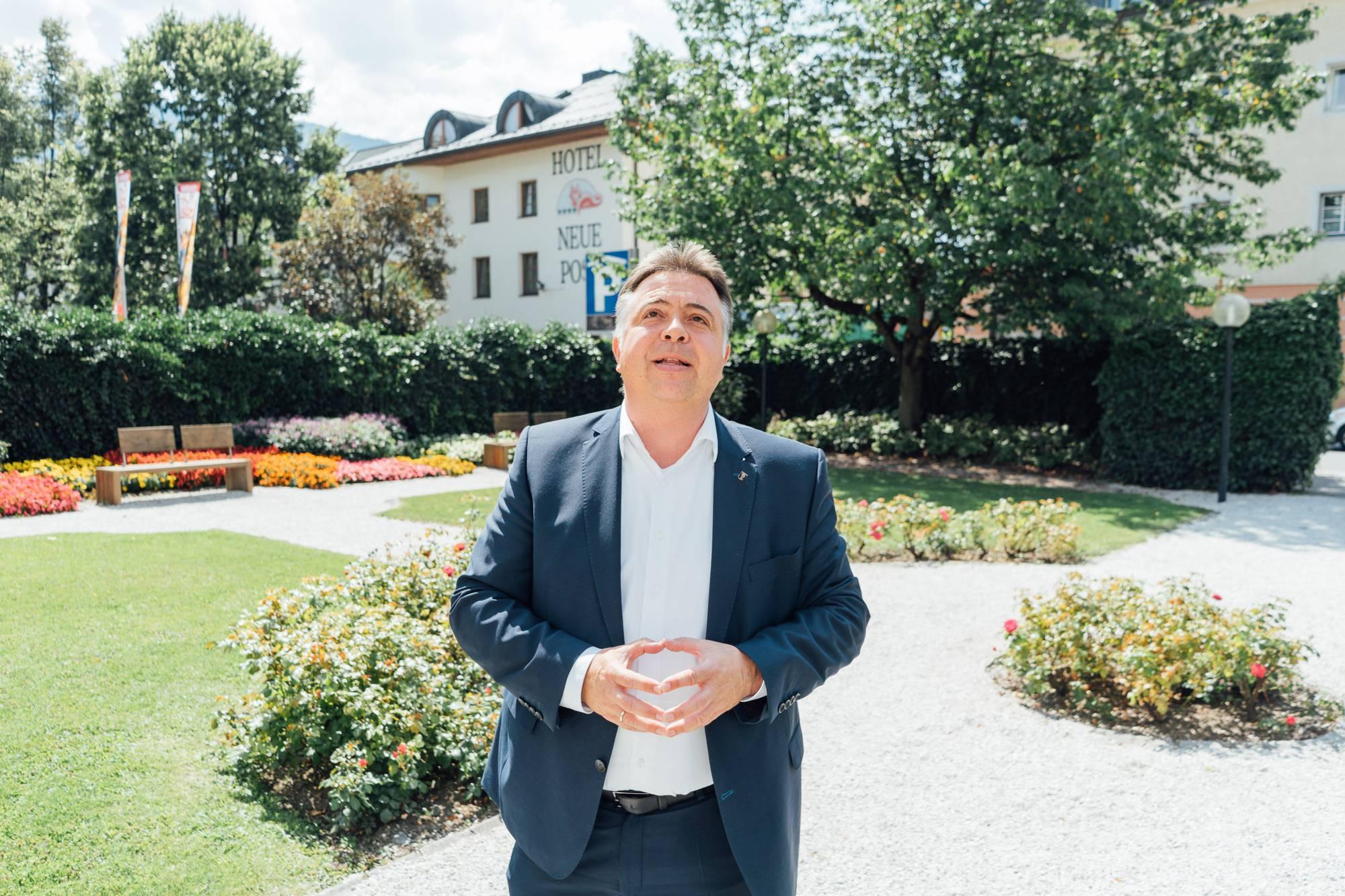 Former Mayor Padourek in the rose garden