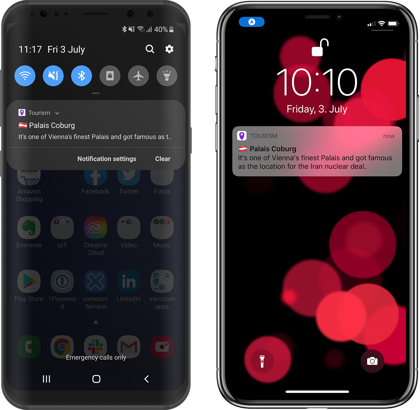 xamoom notifications work on both iOS and Android ...