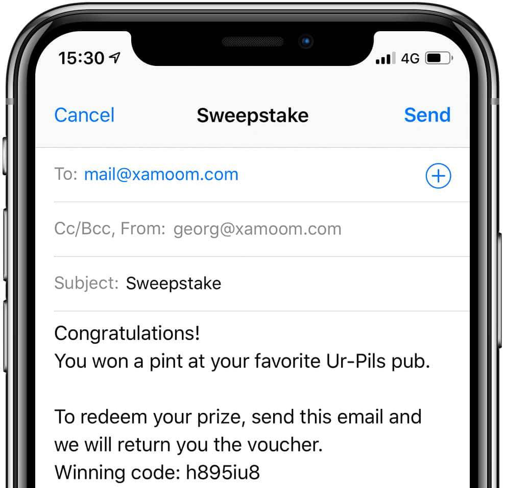 An email is generated and with one click sent away to redeem the prize.