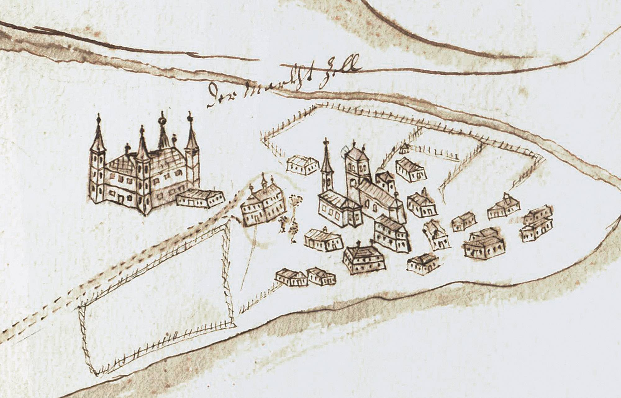 Plan sketch from the year 1709 of  Zell am See