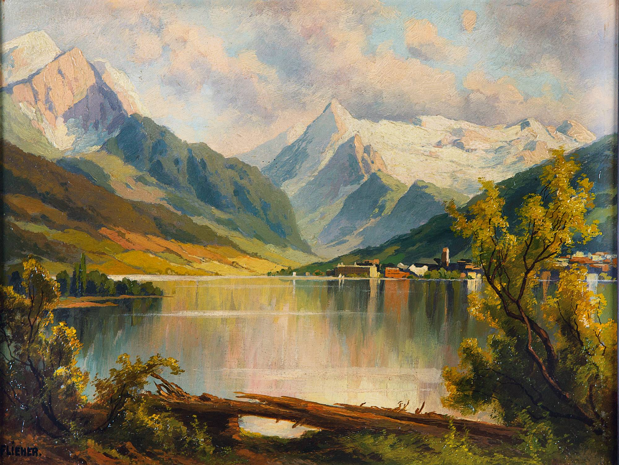 Painting of  Zell am See with a view into the mountains