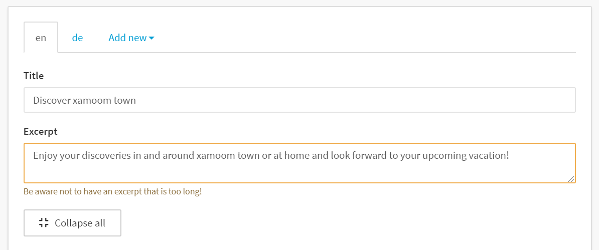 Fill you onboarding screens by entering text to title and excerpt.