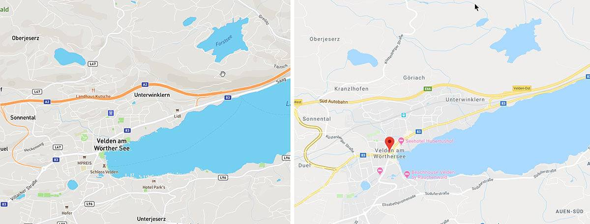 A comparison of Mapbox's Open Streetmap material with Google Maps