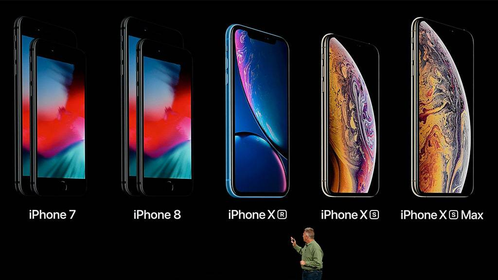 All current iPhones on stage