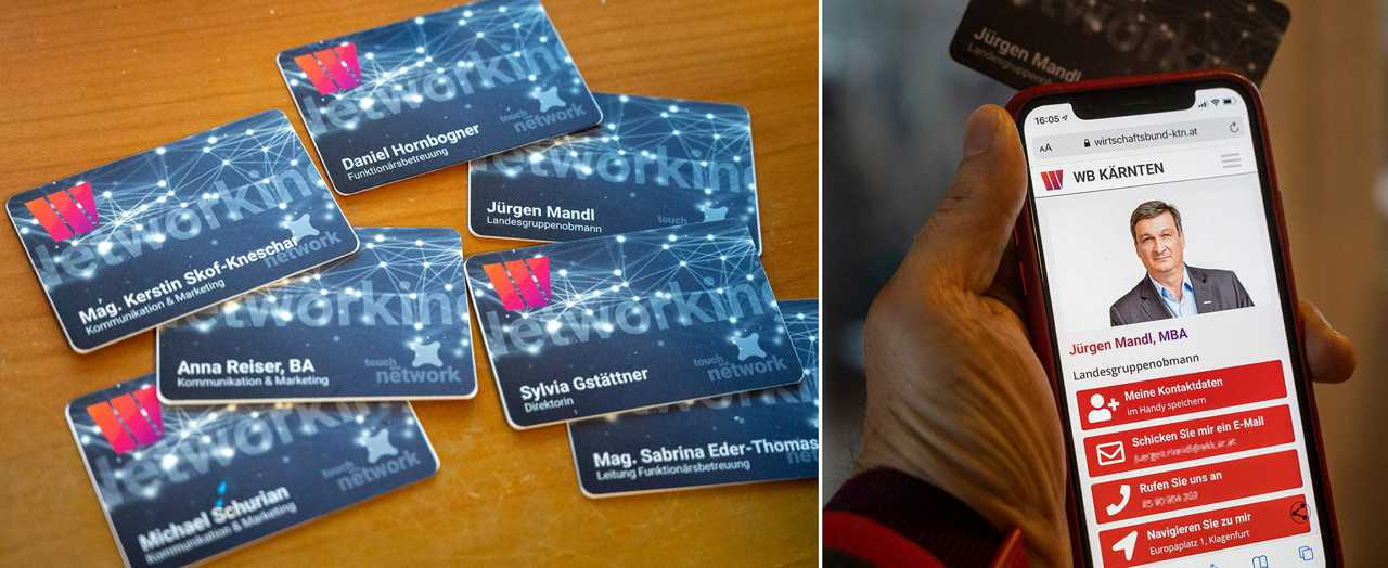 NFC cards touching a phone with a virtual business card coming up
