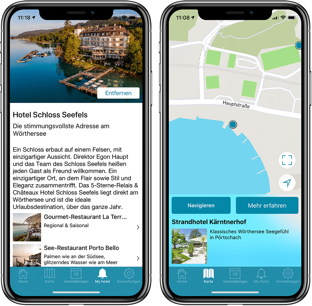 Two screenshots of the Lake Woerth App showing the MyHotel screen and the map functionality