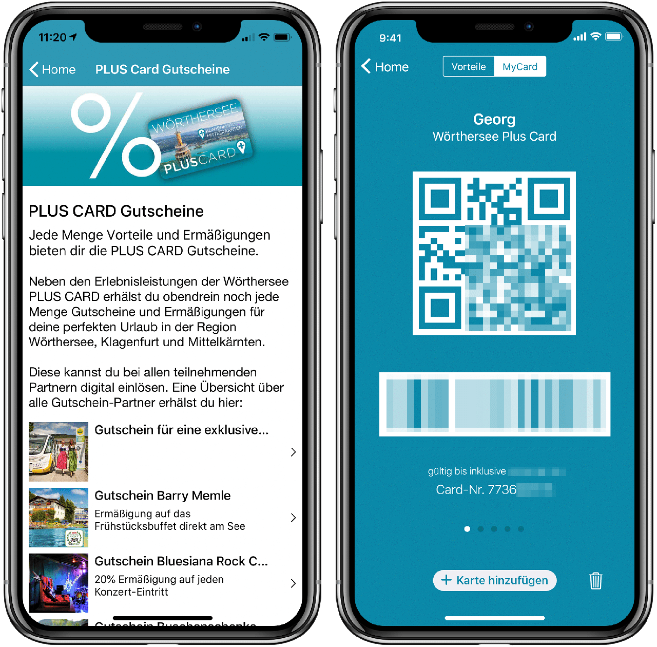 Two screenshots of the Lake Woerth App showing the card functionality
