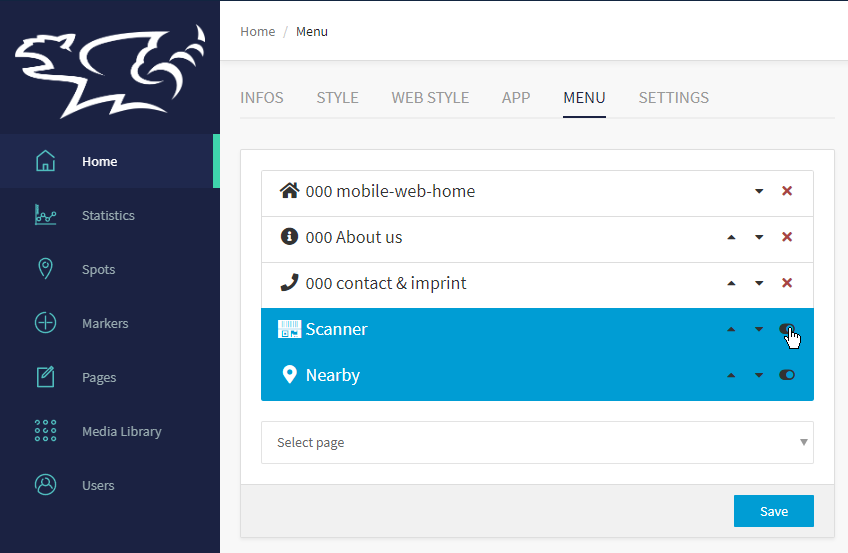 Menu settings in the xamoom CMS.