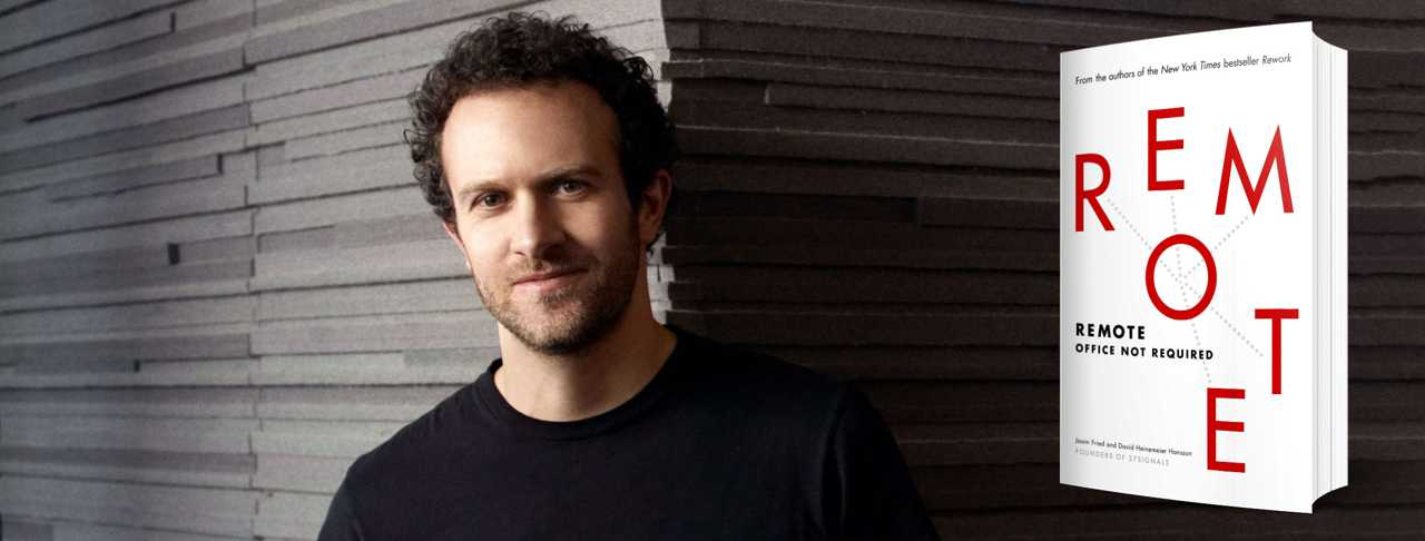 Image of Jason Fried with the book cover